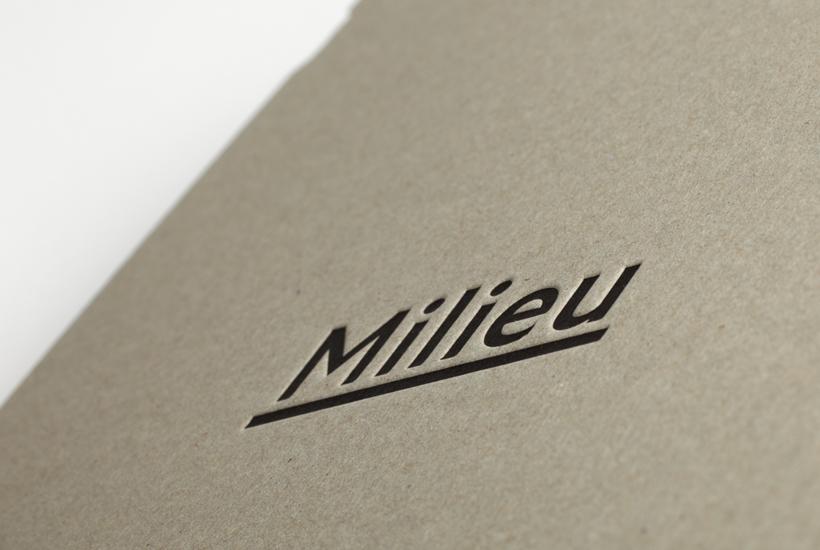 Logo and duplex business card with deboss detail designed by Hi Ho for Melbourne-based boutique developer Milieu