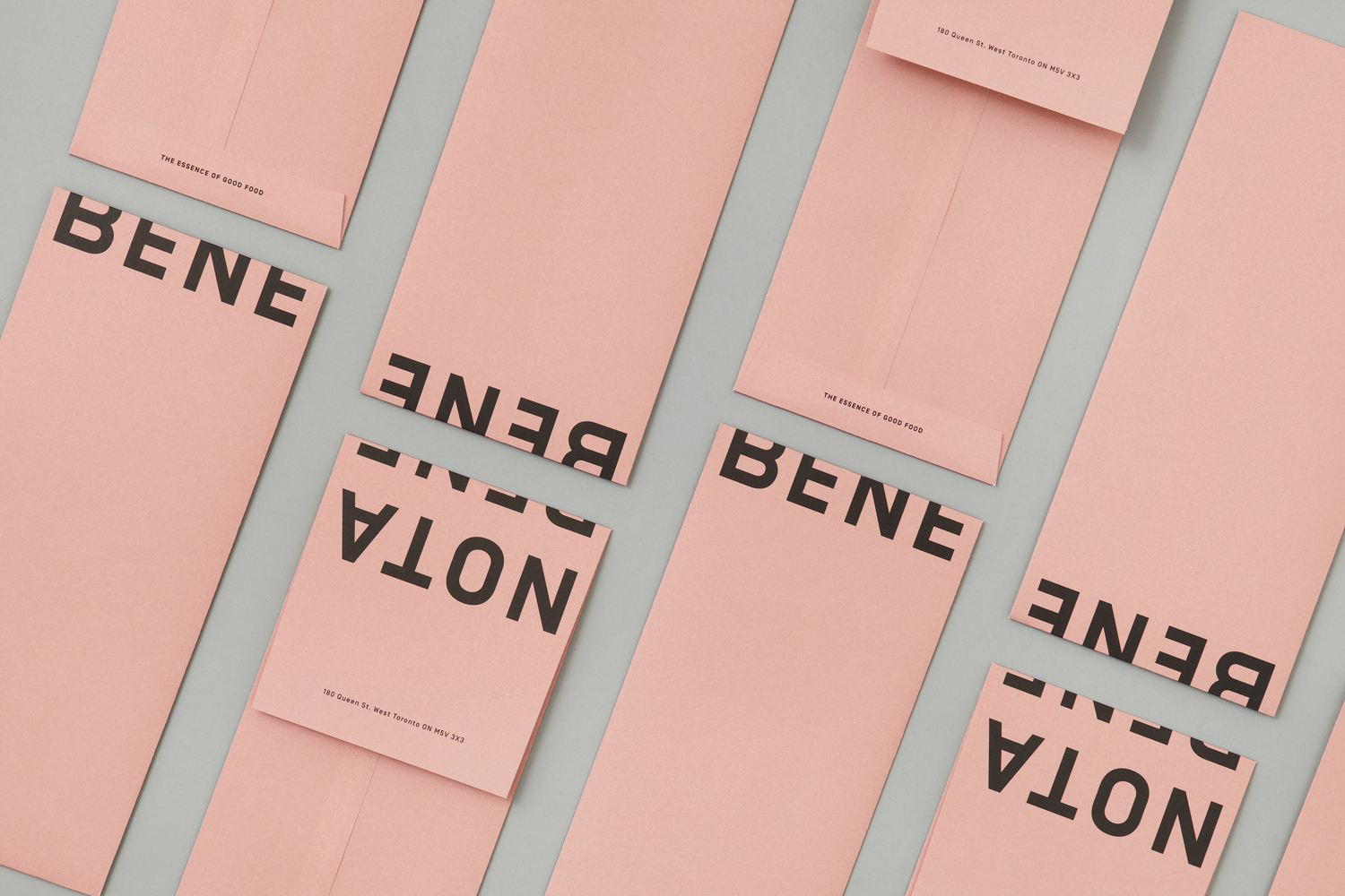 Brand identity and branded envelopes for Toronto restaurant Nota Bene by graphic design studio Blok, Canada