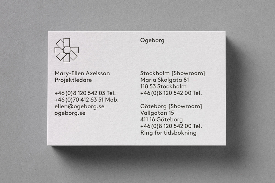 Business cards for Swedish carpet business Ogeborg by Kurppa Hosk
