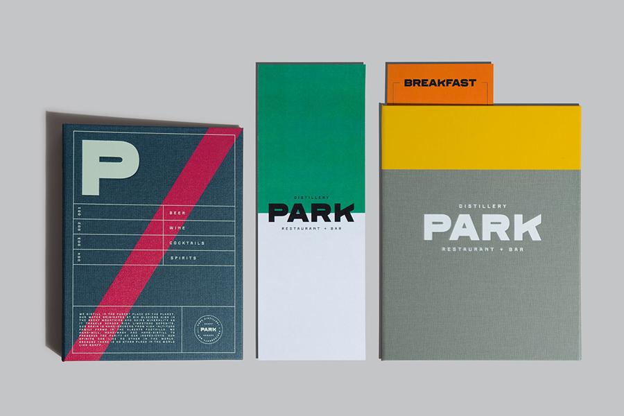 Branding and menu design for Canadian restaurant and distillery Park by Glasfurd & Walker