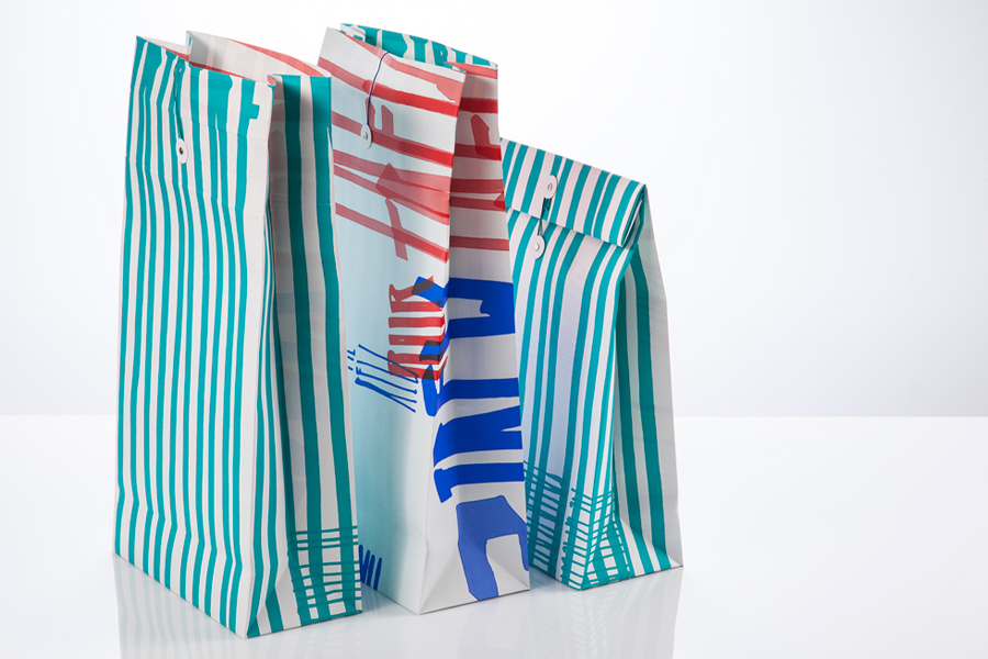 Visual identity and printed paper bags designed by Marks for material and print finish exhibition Rendez-vous des créateurs 2014