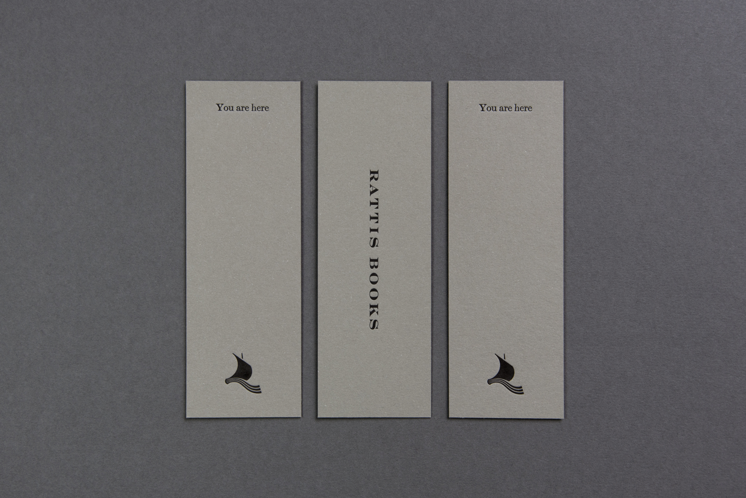 Logo, logotype and bookmarks by London-based design studio, private press and typography workshop The Counter Press for UK independent publisher Rattis Books.