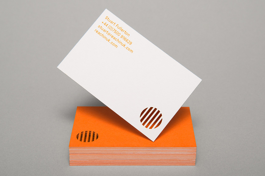 Duplex and die cut business card design by Karoshi for Myeloma charity event Reachin'
