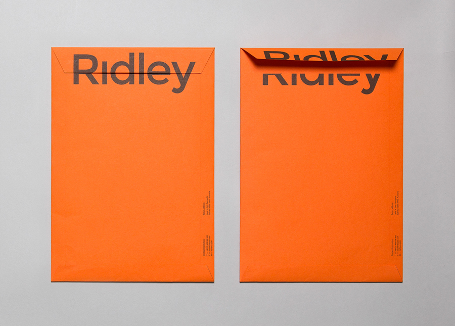 Logotype and envelope by RE: for digital architecture and documentation service Ridley. Featured on bpando.org