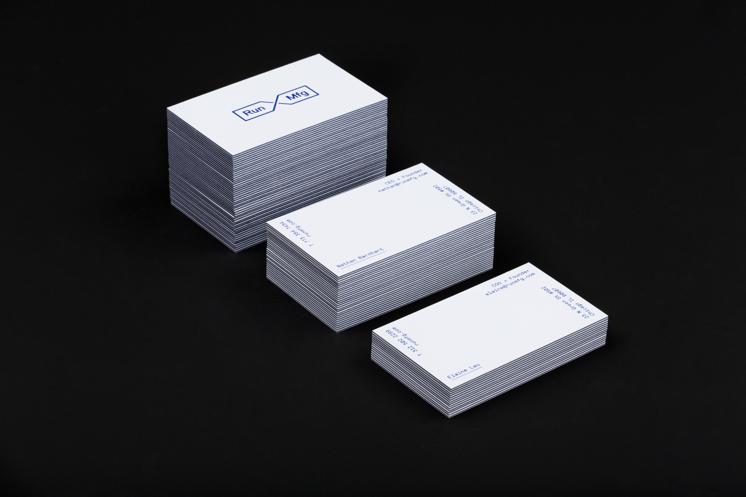 Logo, print, business cards and website by Perky Bros for Chicago-based independent race design and production company Run Mfg