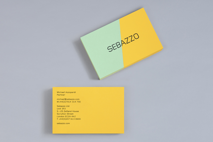 Paper marquetry business card by Bunch for digital design duo Sebazzo