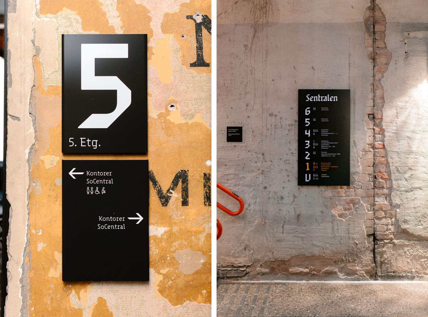 Brand identity and wayfinding for Oslo-based cultural centre and co-working space Sentralen by Metric Design, Norway