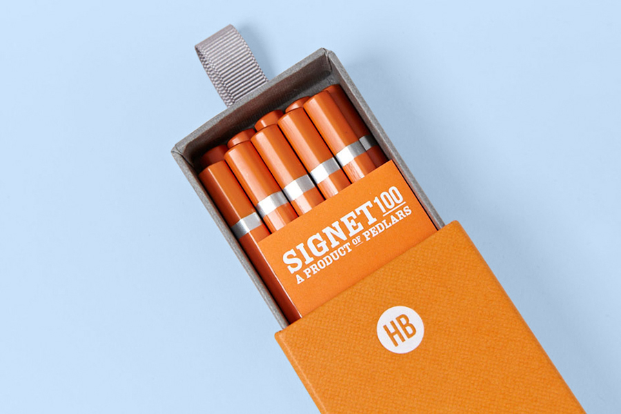 Pencil packaging and visual identity by Well Made Studio for Pedlars' high quality pencil range Signet 100