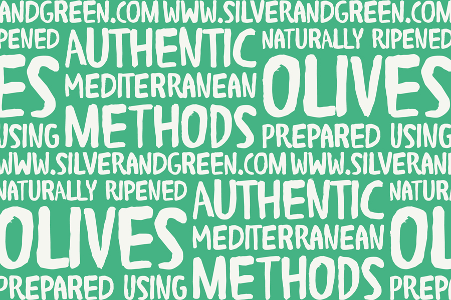 Custom hand painted typography for Silver & Green designed by Salad