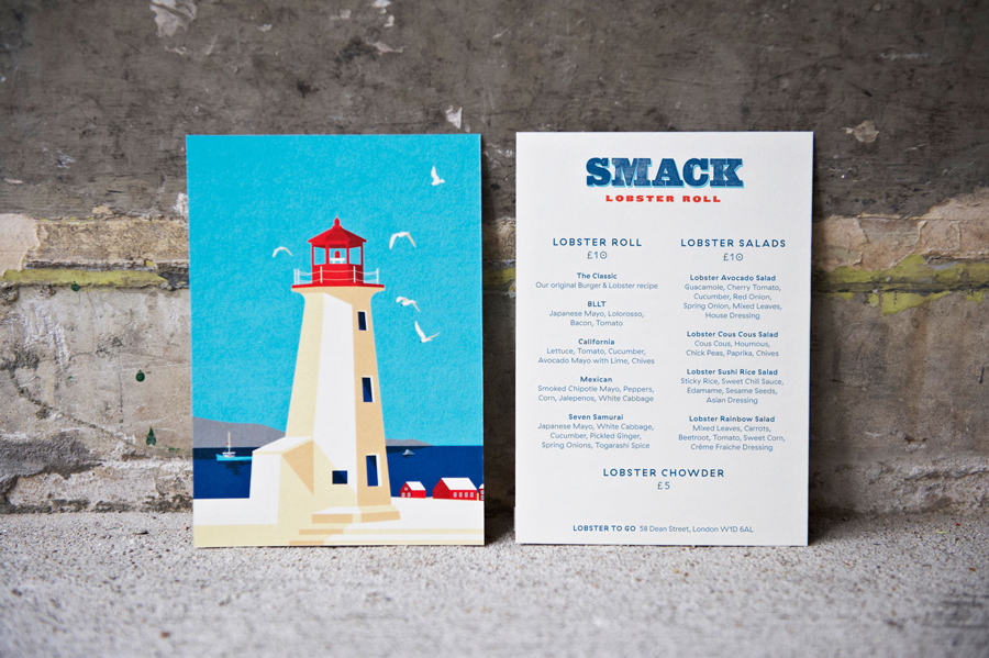 Illustrated menu design for Smack Lobster Roll by & Smith