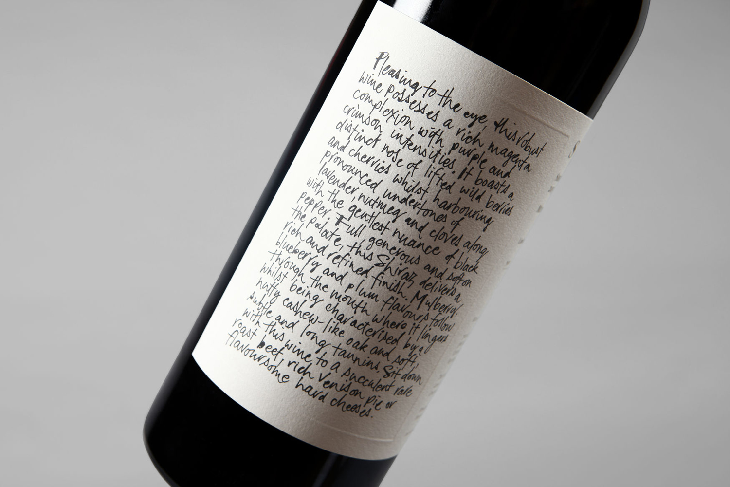 Wine label with blind emboss detail by Sydney-based Frost for Niche Wine Co.'s limited edition release Somm, an Australian Shiraz