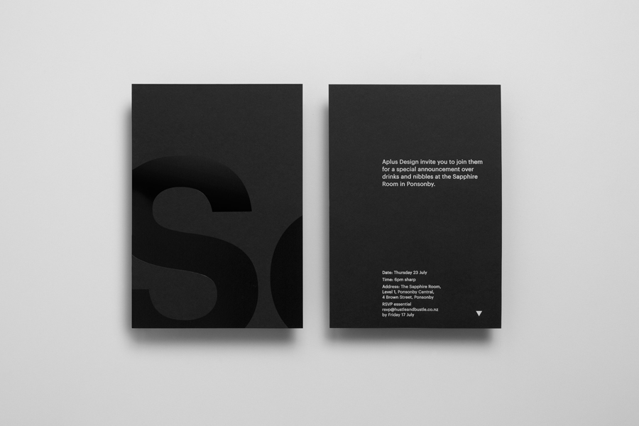 Black block foil and black card invitation for Auckland based graphic design business Studio South