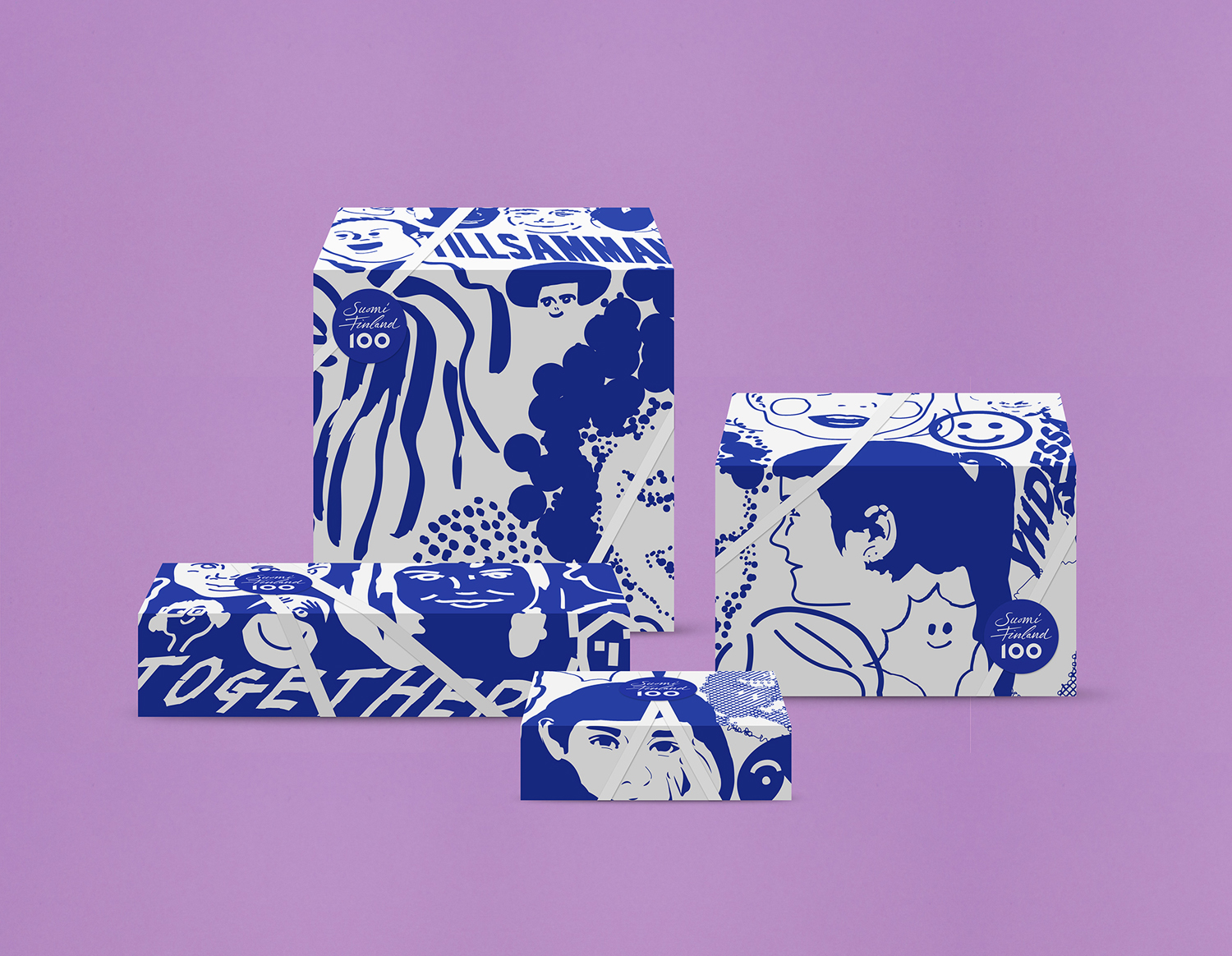 Illustration, print and packaging by Kokoro & Moi for the celebration of Finland's centenary