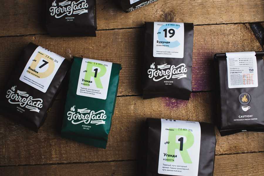 Visual identity and coffee packaging designed by Fork for Moscow based roaster Torrefacto