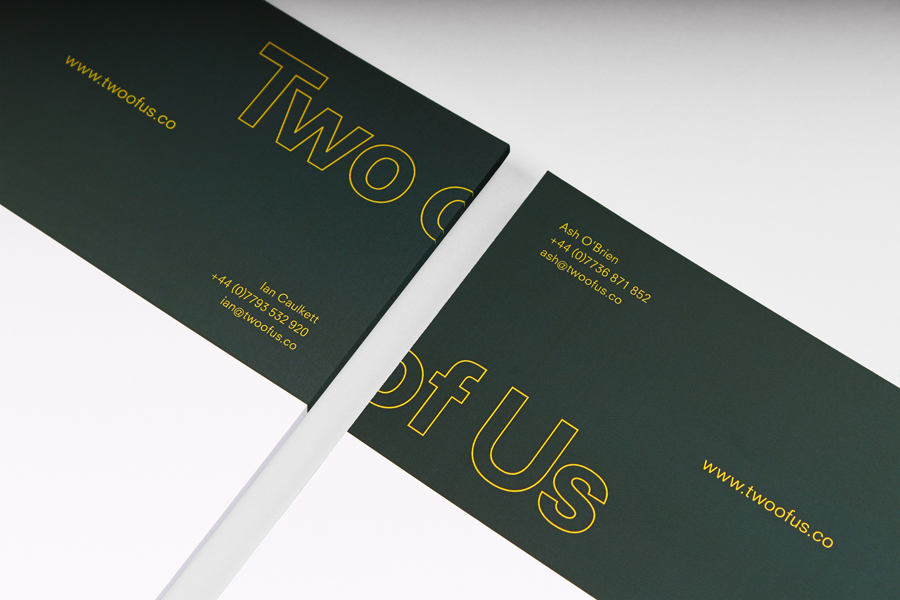 Headed paper for British brand identity design studio Two of Us