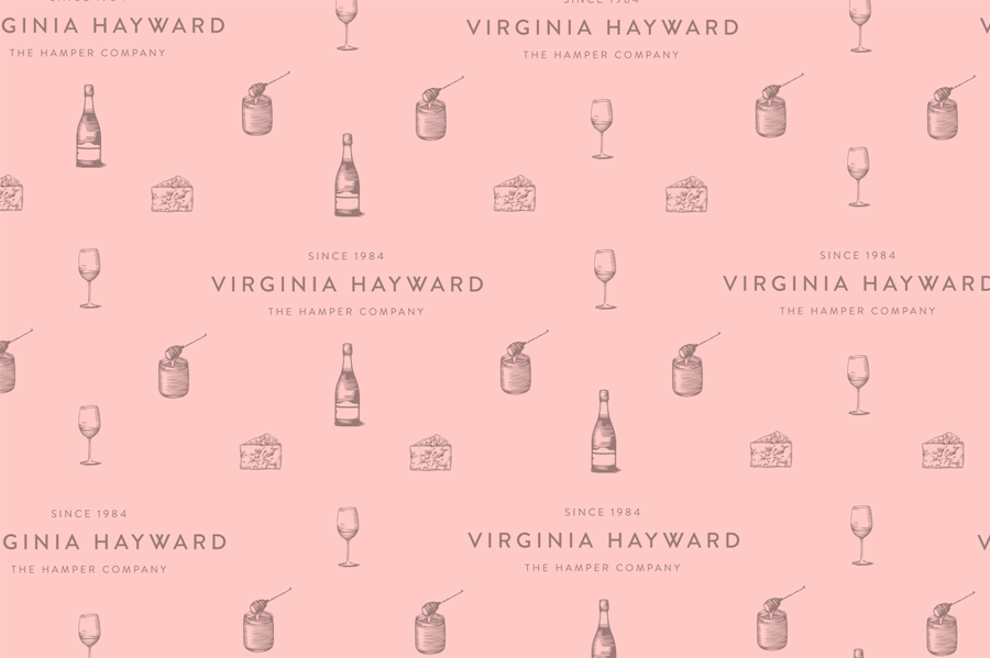 Illustration, etched in style, designed by Salad for British hamper business Virginia Hayward