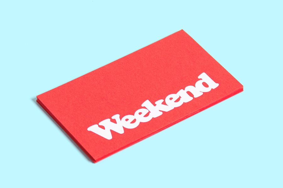 Red paper business card with white ink for coffee shop Weekend designed by RoandCo