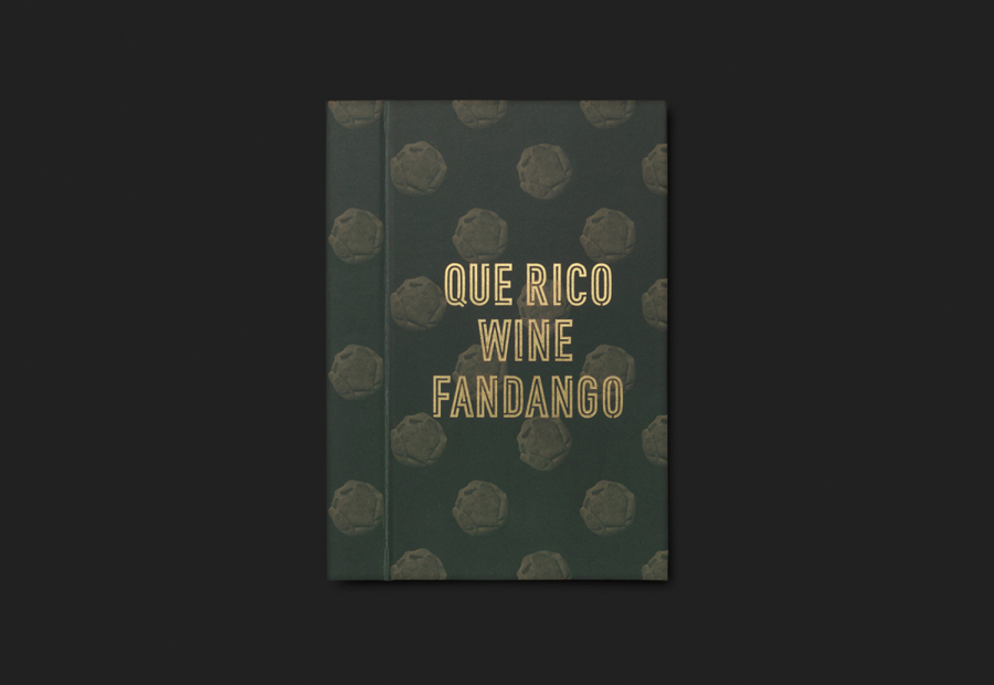 Gold foiled menu by graphic design studio Moruba for Wine Fandango