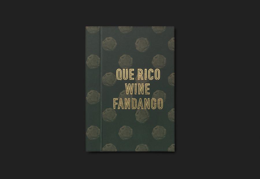 Gold foiled menu by graphic design studio Moruba for Wine Fandango