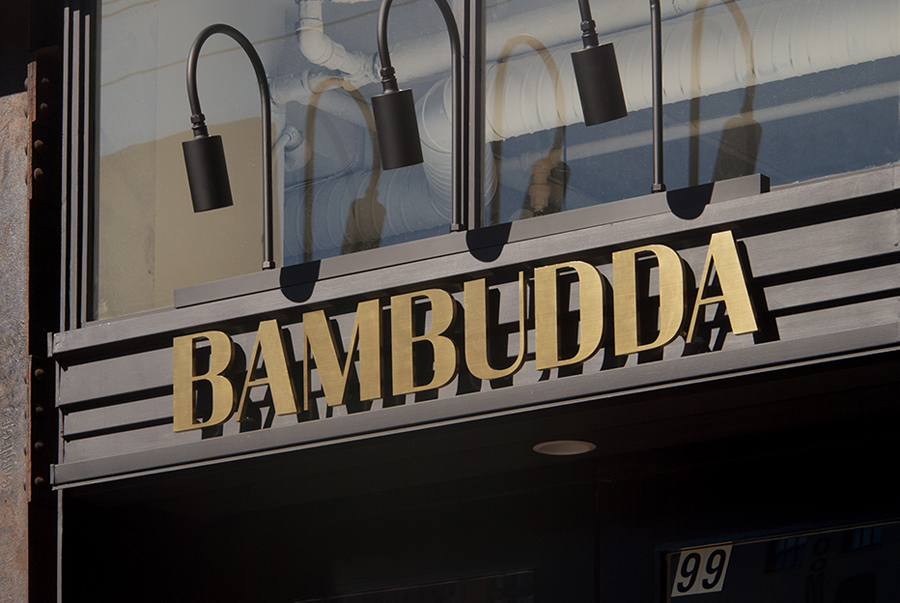 Logotype as an exterior sign designed by Post Projects for Vancover-based Chinese restaurant Bambudda
