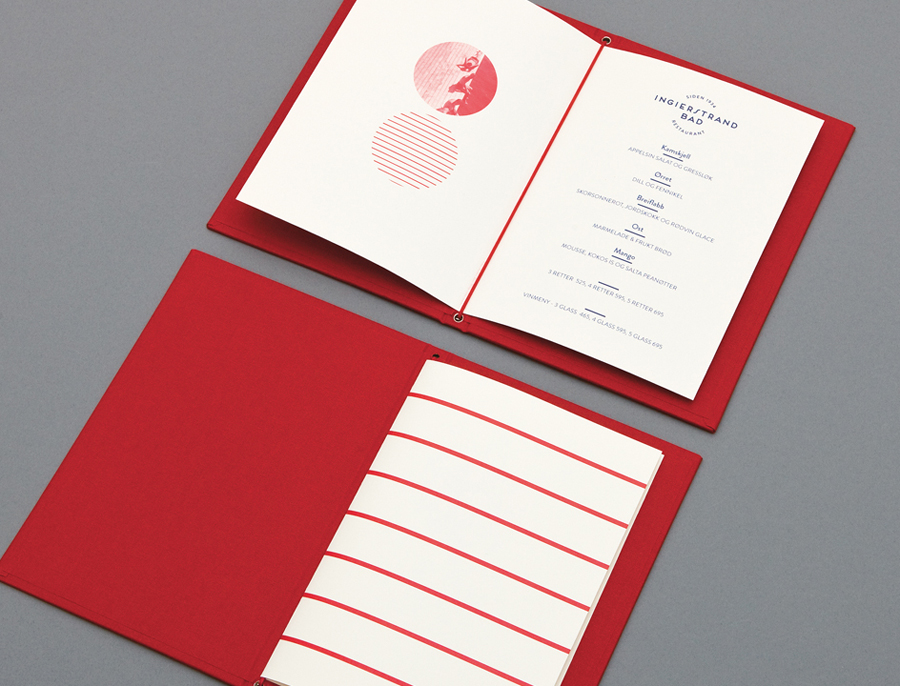 Fabric covered menu for Norwegian restaurant Ingierstrand Bad designed by Uniform