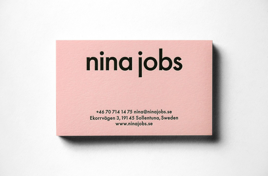 Business card design with pink paper and black foil detail for industrial designer Nina Jobs by BVD