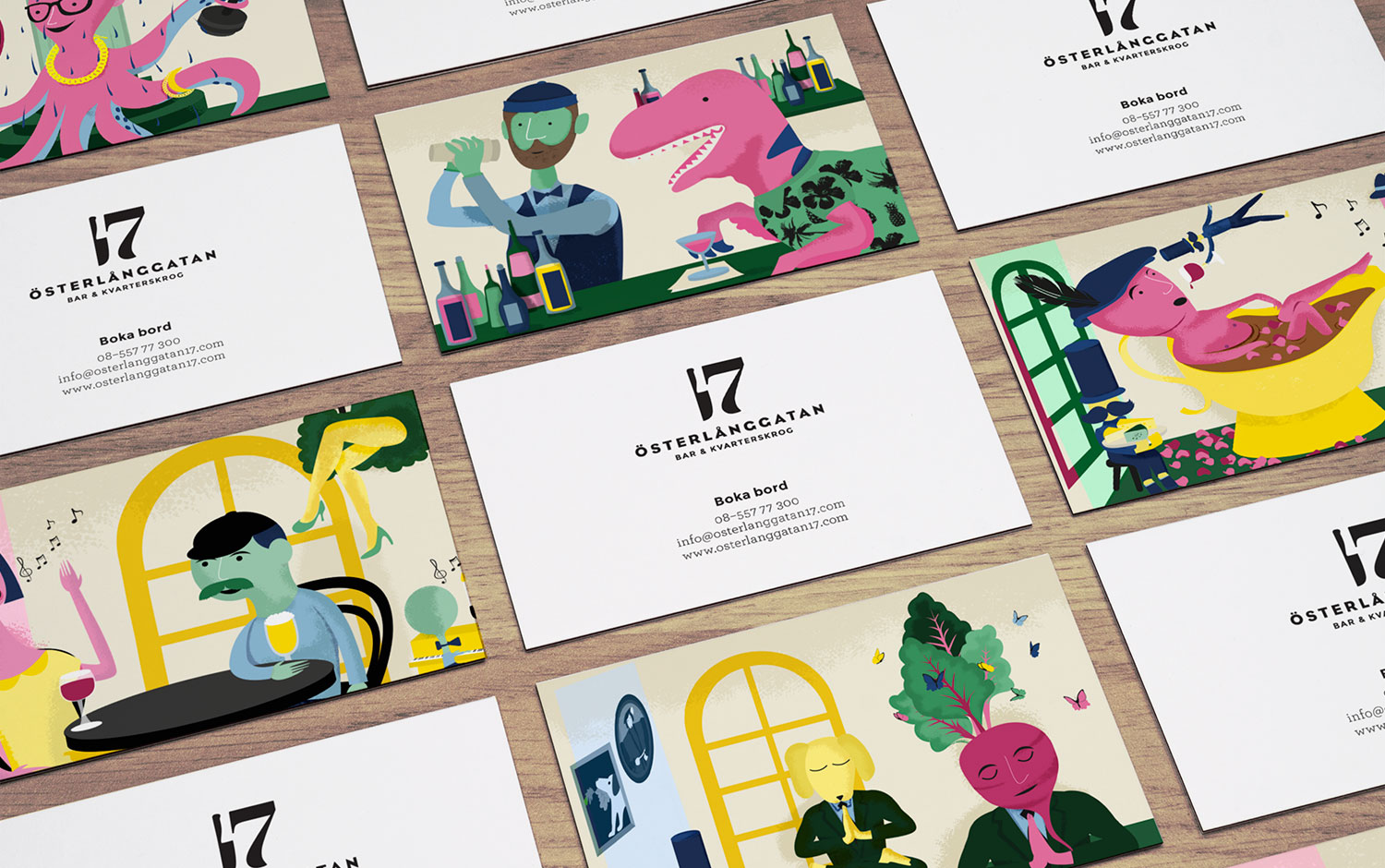 Illustrated business cards for Scandinavian restaurant Österlånggatan 17 designed by Lobby Design