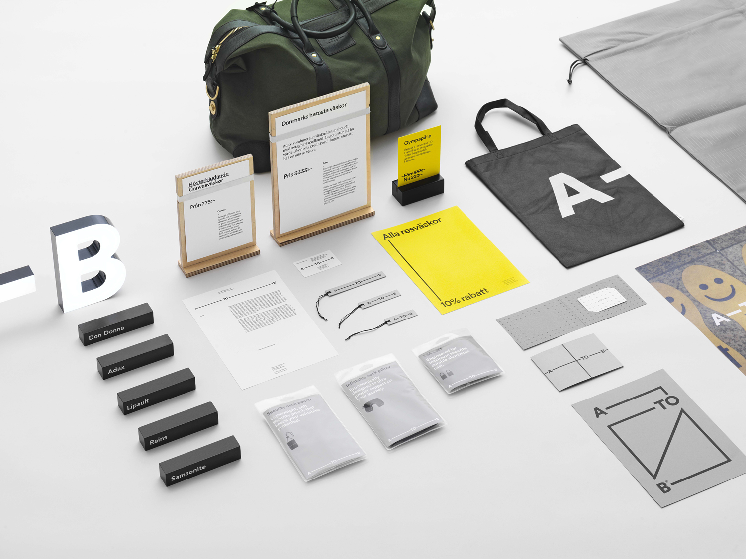 Brand Identity, print and signage for Scandinavian retailer and bag specialist A-TO-B by Stockholm Design Lab