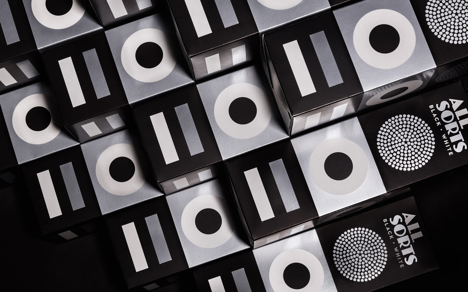 Packaging for liquorice brand Allsorts Black & White by Bond
