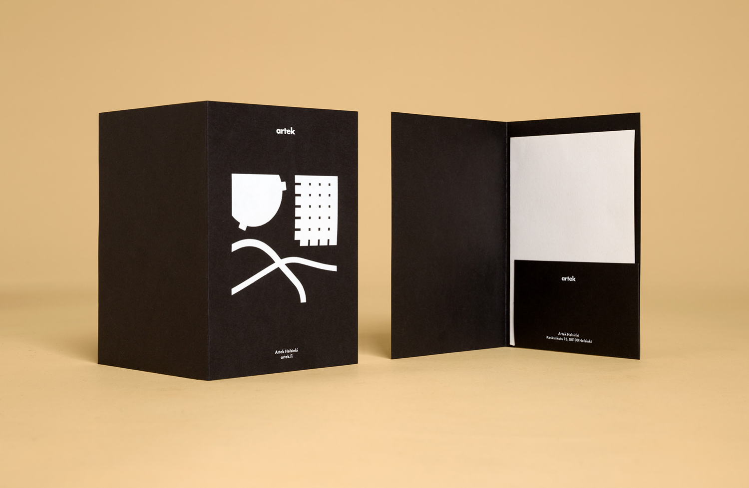 Brand identity and folder by graphic design studio Tsto for furniture and homeware store Artek Helsinki.