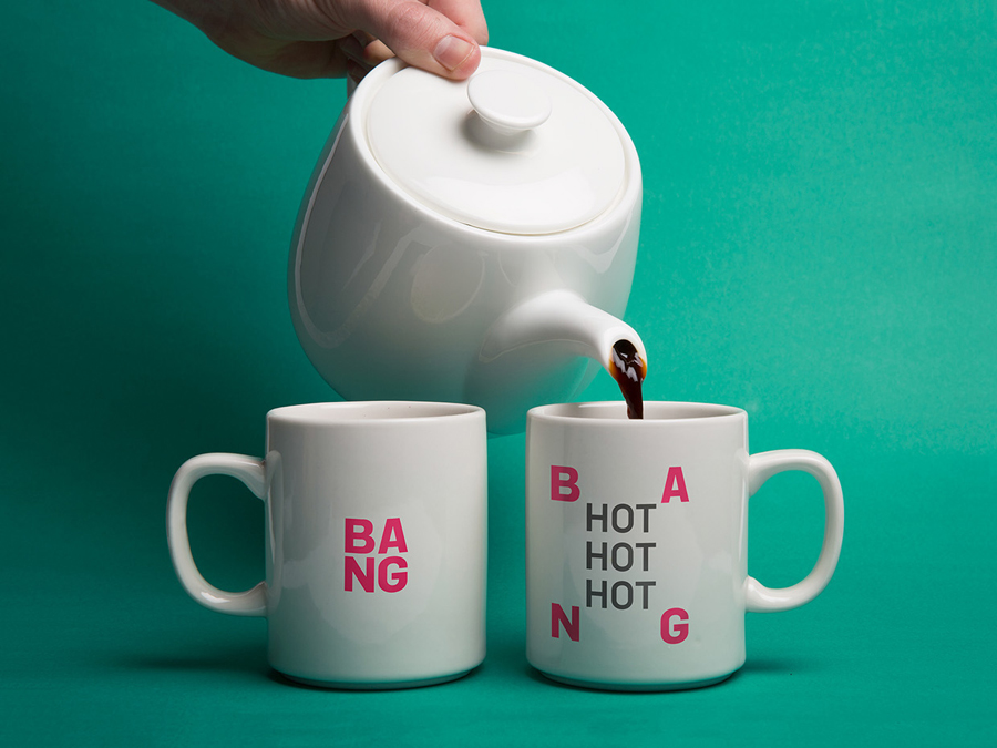 Logo and heat reactive mugs designed by RE: for Sydney based public relations business Bang