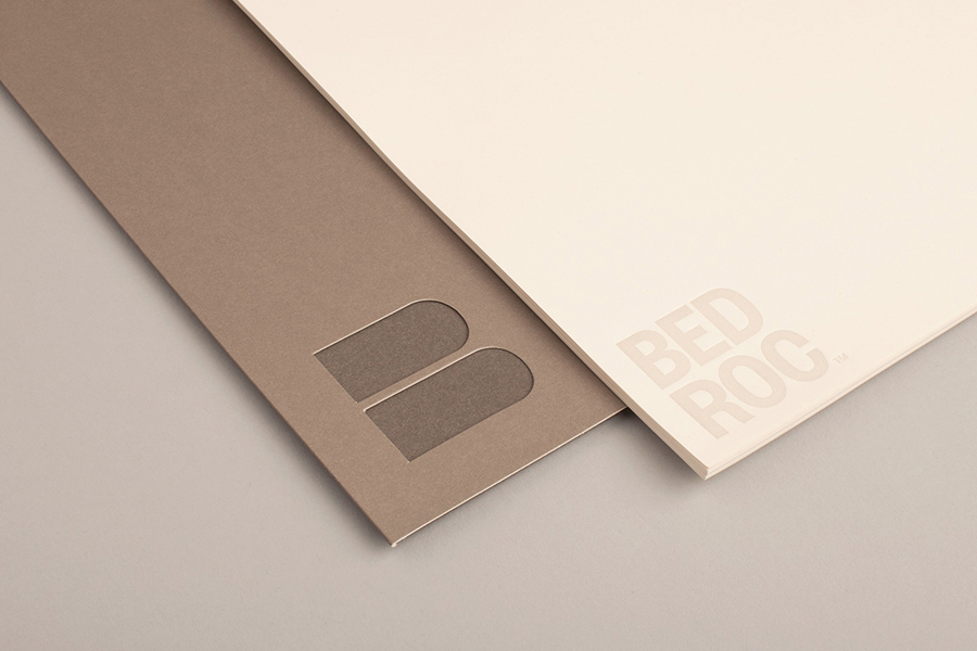 Logo and folder with die cut detail for technological consultancy firm Bed Roc designed by Perky Bros
