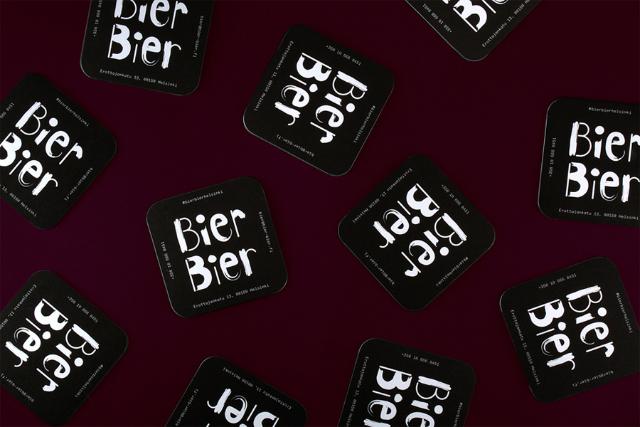 Branding, logotype and beer mats for Helsinki based beer bar Bier Bier by Finnish graphic design studio Tsto
