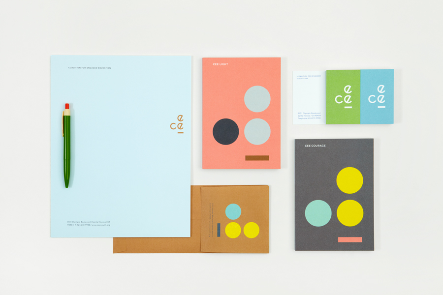 Logo, letterhead, business card and print by Blok for LA based education organisation the Coalition for Engaged Education (CEE).