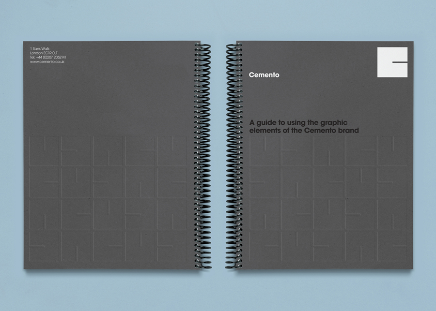 Brand guidelines with white ink and blind emboss detail designed by S-T for cement veneer business Cemento