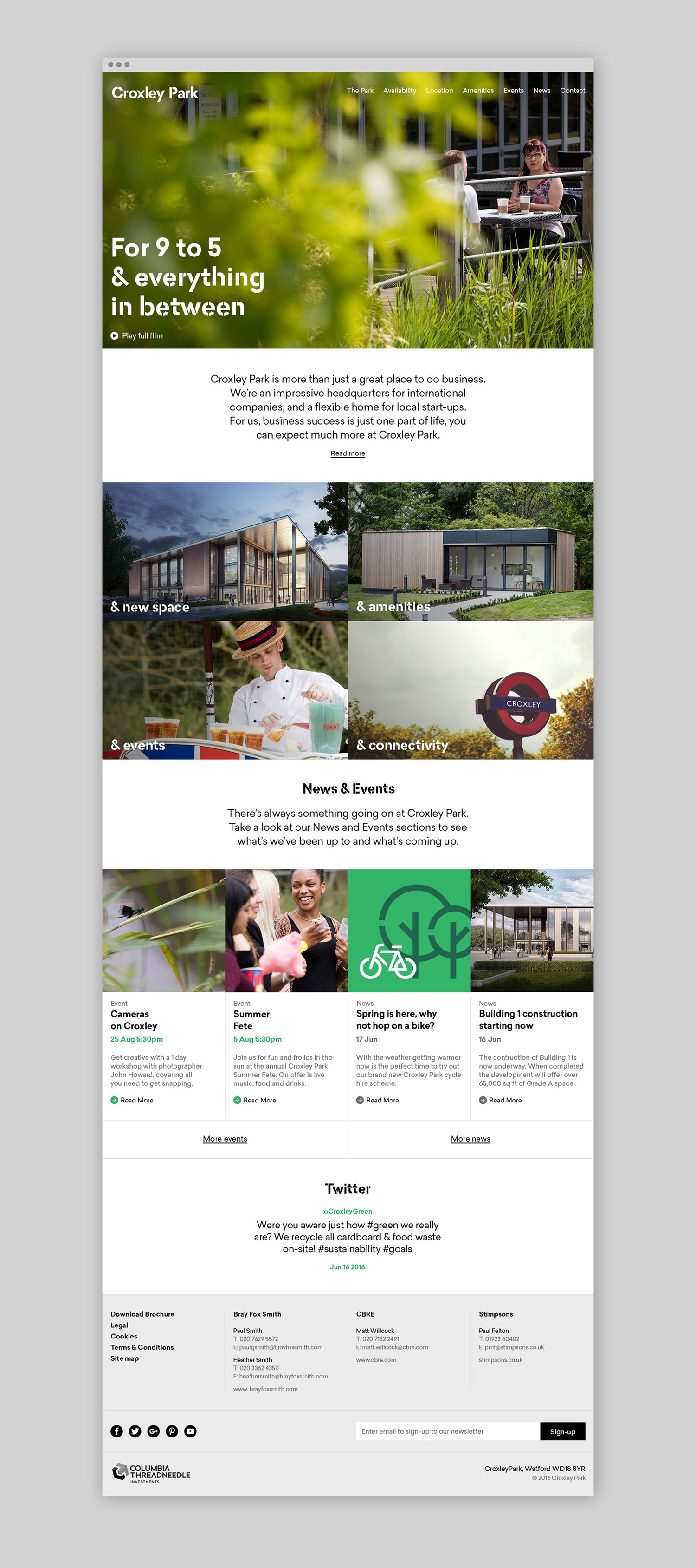 Logo, brochure, typography, illustration and website by Blast for UK business park Croxley Park