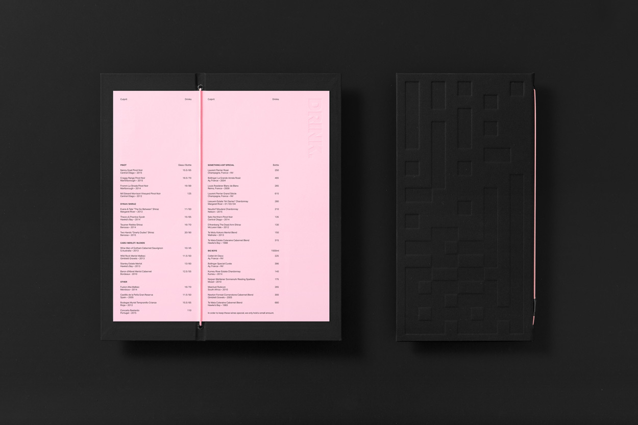 Brand identity and drink menu by Studio South for Auckland bar and restaurant Culprit