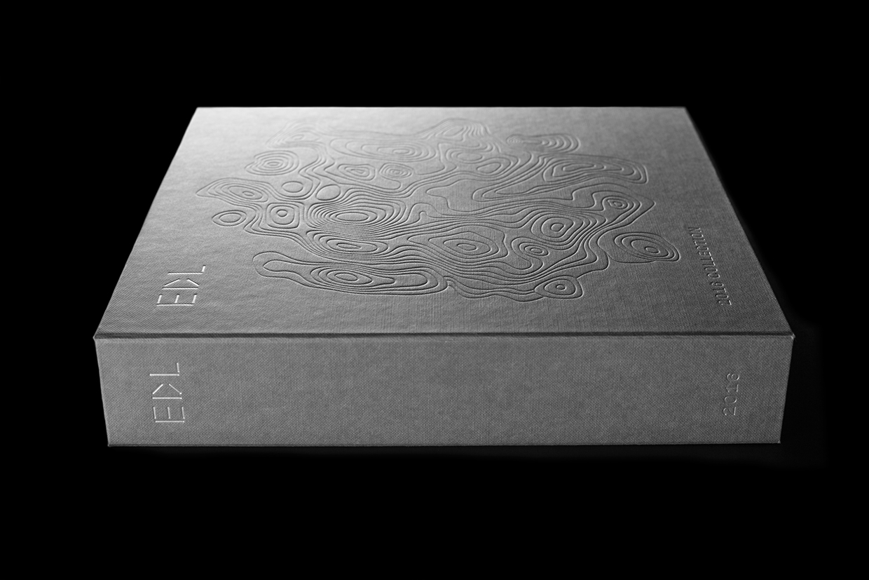 Blind embossed and silver block foiled brochure for high pressure laminate distributor EDL by graphic design studio Bravo.