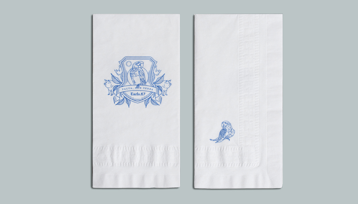 Branded napkins designed by Glasfurd & Walker for US and Canadian restaurant chain prototype Earls.67