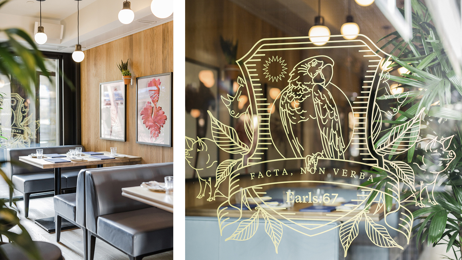 Brand identity and interior graphics by Glasfurd & Walker for US and Canadian restaurant chain prototype Earls.67