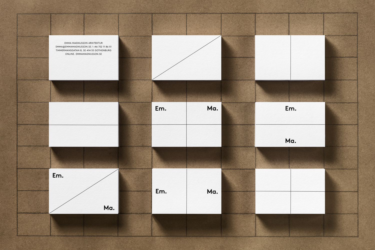 Brand identity and business cards for Emma Magnusson Arkitektur by Lundgren+Lindqvist, Sweden