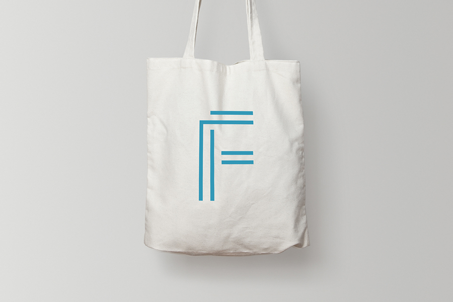 Logo and branded tote bag designed by DIA for LA based public relations business Flight