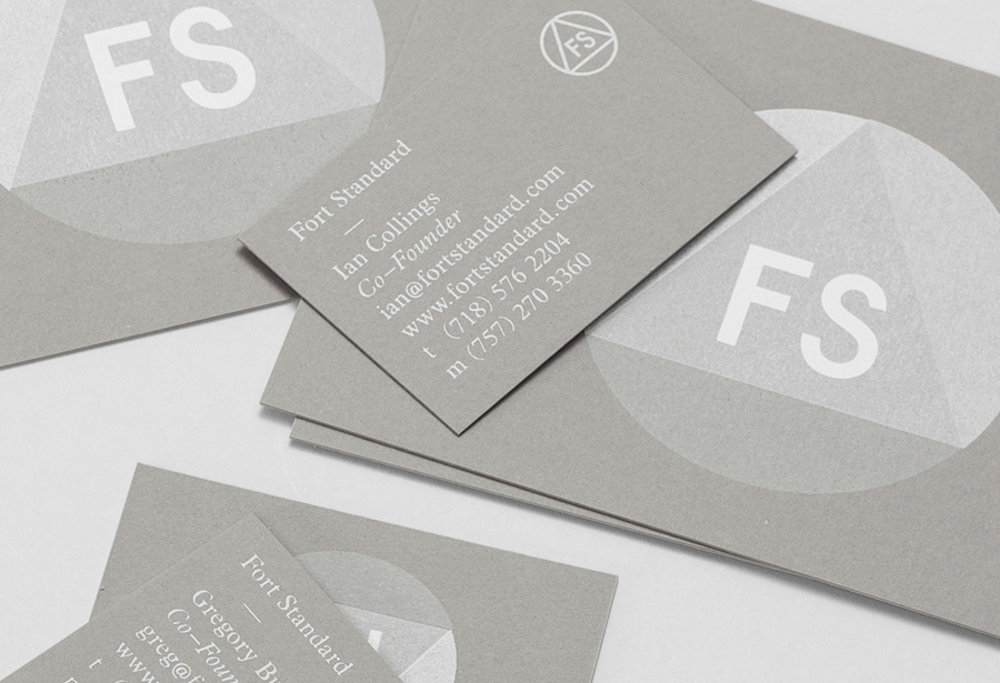 Silk screened business cards for Fort Standard designed by Studio Lin