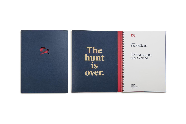 Brand identity and personal presentation folder for Fox Real Estate by Parallax Design, Australia