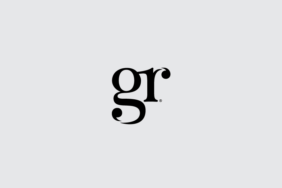 Logo design with ligature and apostrophe detail by Ascend for London-based PR agency GR Communications