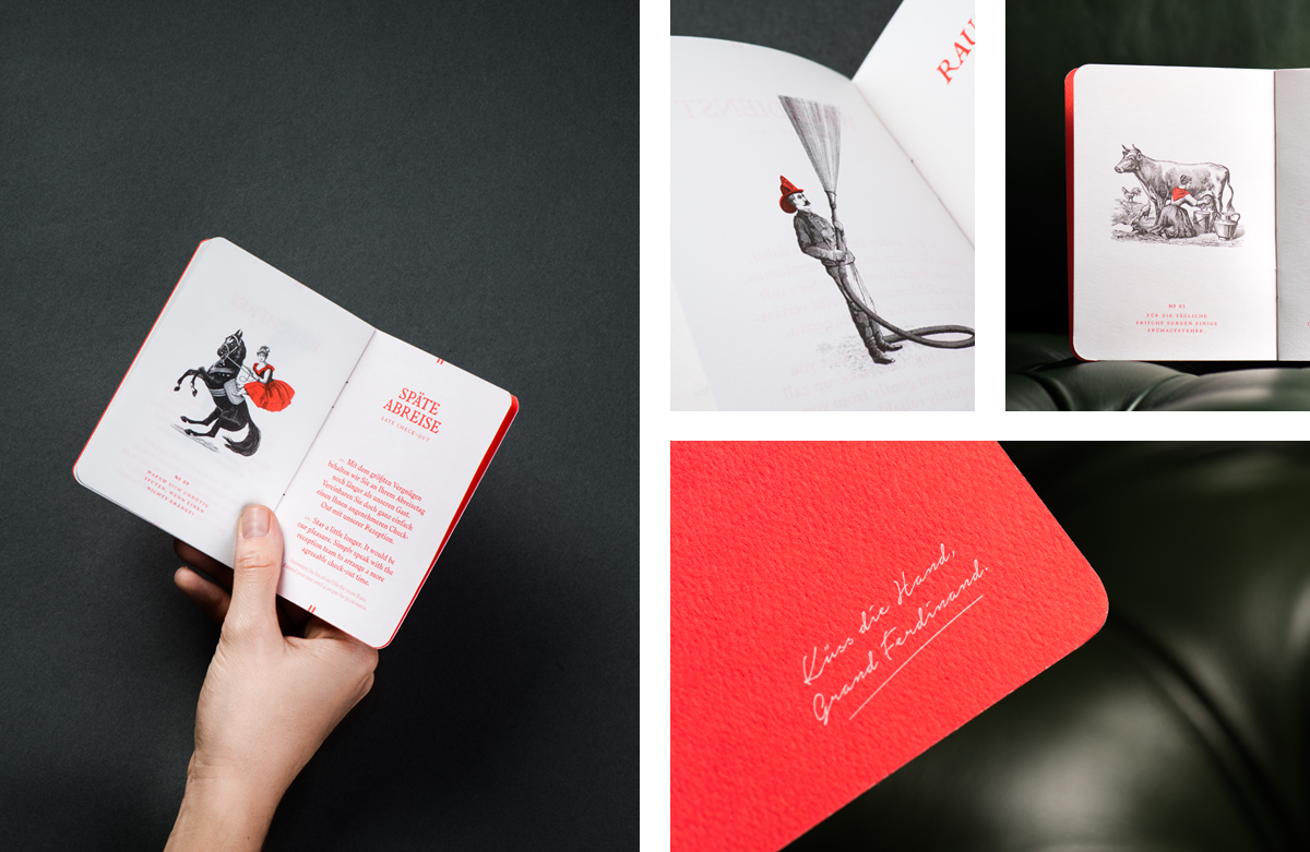 Brand identity and print for Vienna's Grand Ferdinand hotel by Austrian graphic design studio Moodley