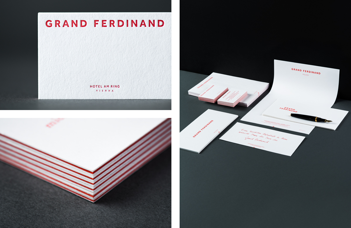 Triplex business cards for Vienna's Grand Ferdinand hotel by Austrian graphic design studio Moodley