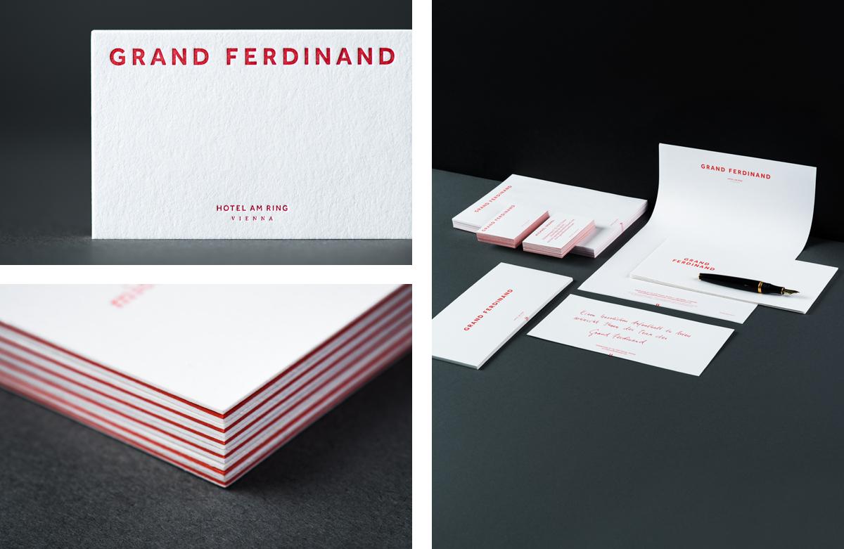 Triplex business cards for Vienna's Grand Ferdinand hotel by Austrian graphic design studio Moodley