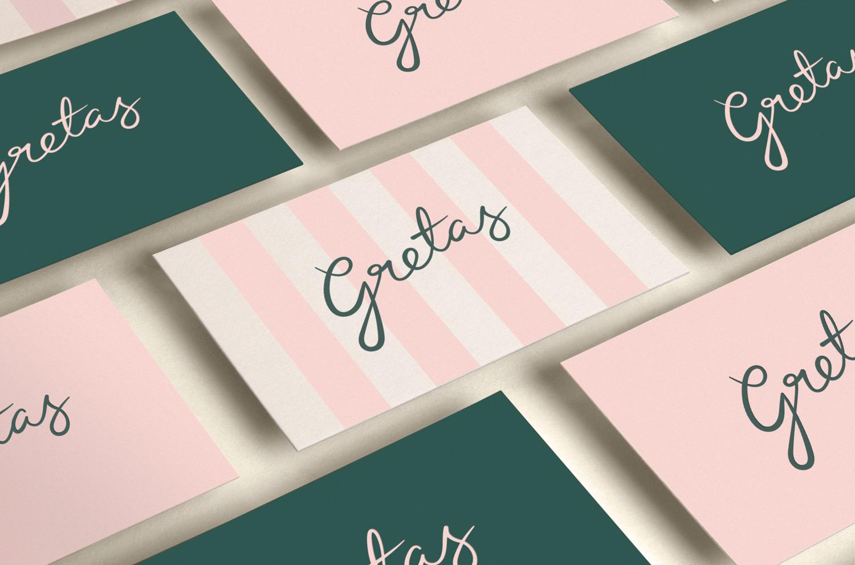 Brand identity, logo and business cards for Stockholm-based cafe Gretas at Haymarket designed by 25AH, Sweden