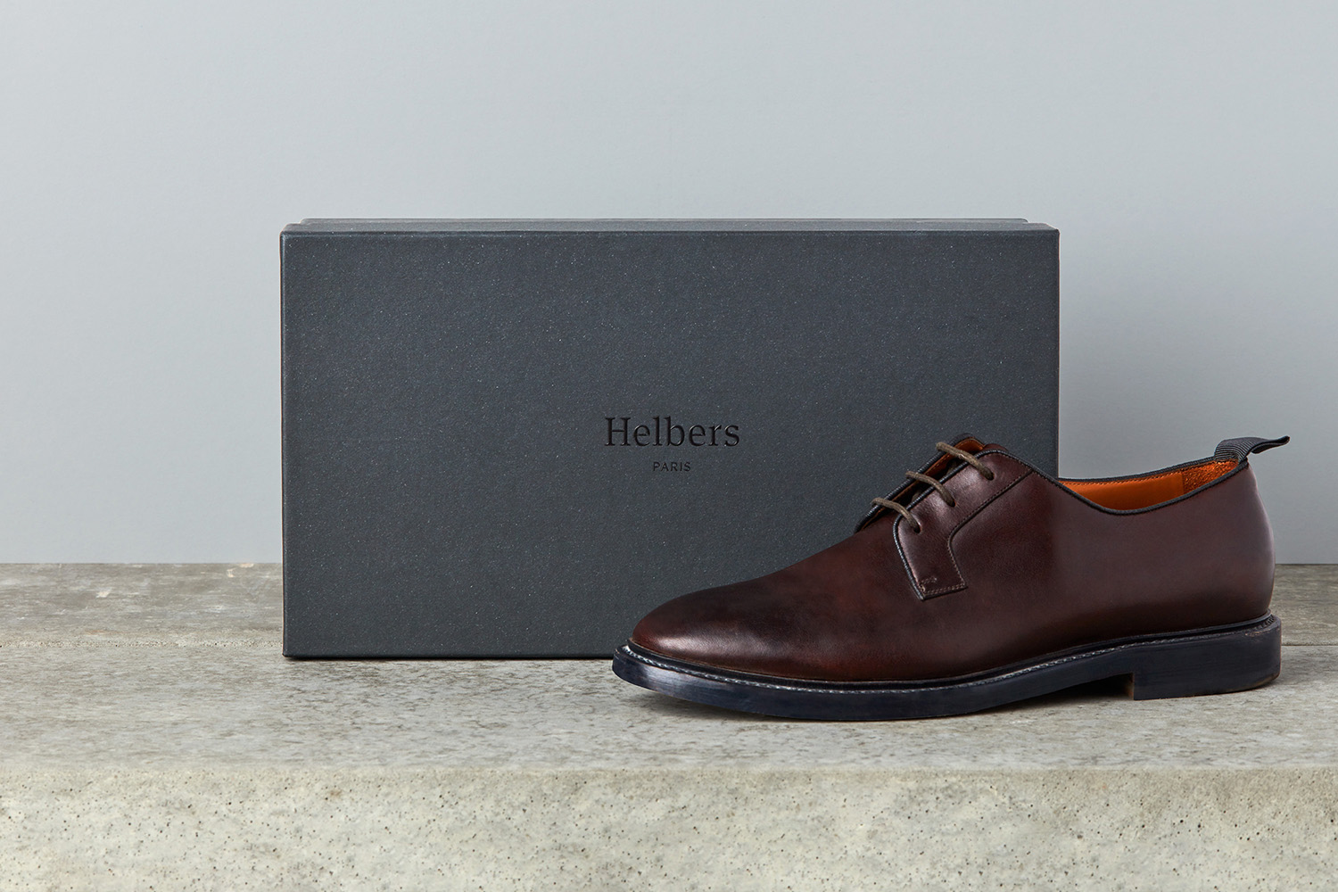 Logotype and branded shoebox by Leeds-based graphic design studio Only for Parisian menswear label Helbers
